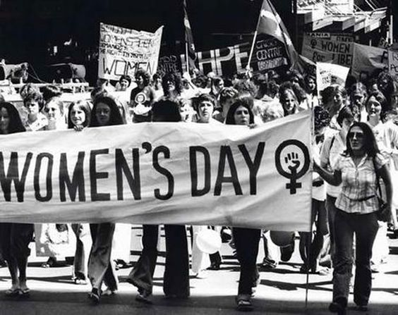 black and white image from womens day march